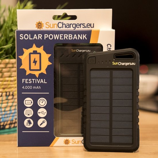 Festival 4 000 mAh Solar Powerbank Zwart