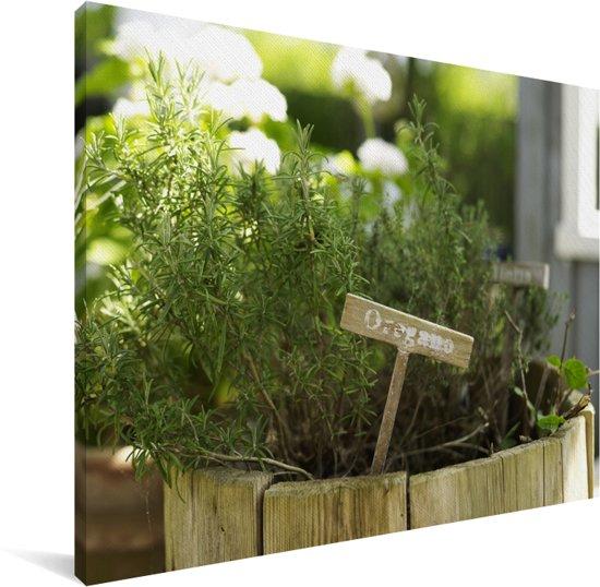 Oregano in een houten bloempot in de tuin Canvas 40x30 cm - klein - Foto print op Canvas schilderij (Wanddecoratie woonkamer / slaapkamer)