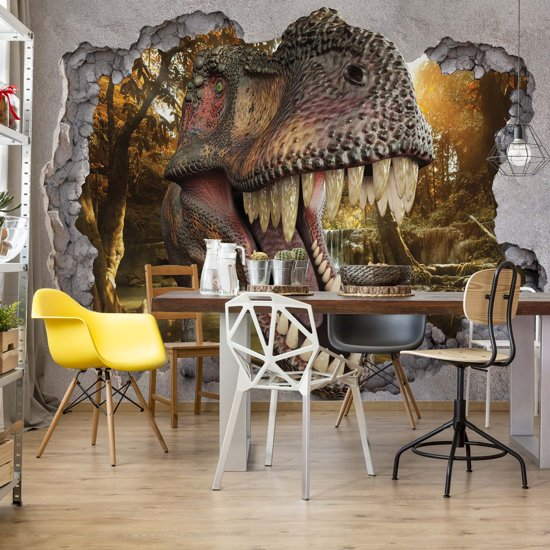 Fotobehang Dinosaur 3D Jumping Out Of Hole In Wall | VEL - 152.5cm x 104cm | 130gr/m2 Vlies