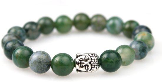 Natuursteen Armband Mosagaat - Kralenarmband - Boeddha