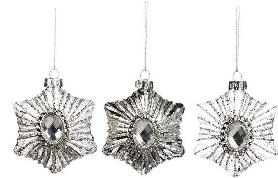 Assortiment Van 3 Zilveren Glazen Sneeuwvlokken Met Juwelen Ornamenten 8Cm, 6 Stuks