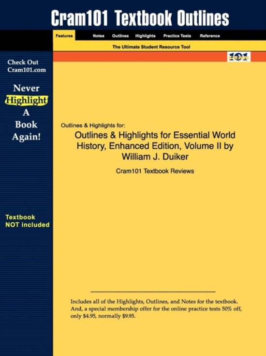 Outlines & Highlights for Essential World History, Enhanced Edition, Volume II by William J. Duiker
