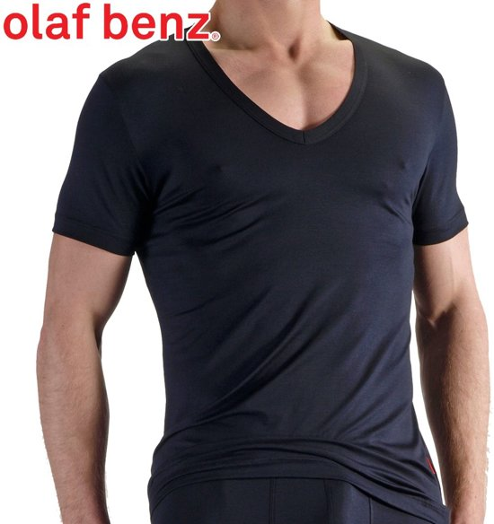 Olaf Benz Deep V-neck T-shirt - Zwart - Extra Large