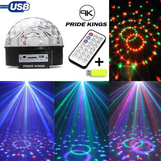 rgb stage light led crystal magic ball met afstandsbediening en usb stick pride kings
