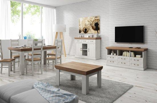 bol.com | Complete woonkamer / Living River - Wit - Licht eiken 1