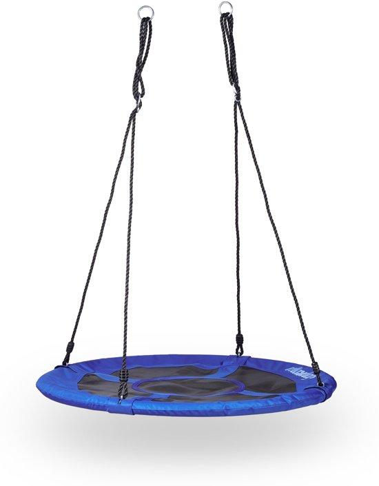 relaxdays - nestschommel rond - voor in de tuin - blauw - gesloten zitting 100 cm