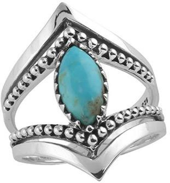Marquise beaded ring - Turquoise - maat 18.00 mm (57)