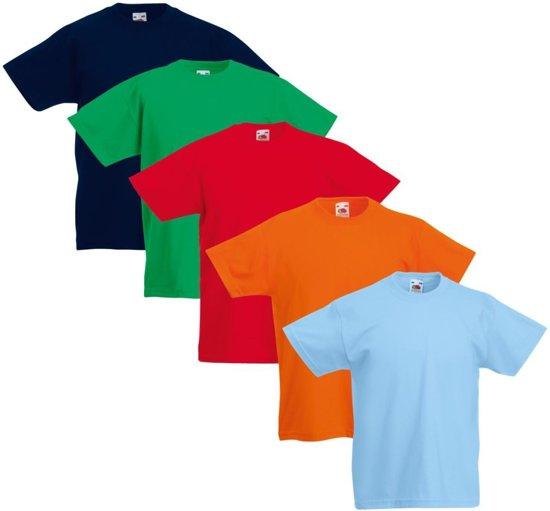 5x Fruit of the Loom Original Kids T-shirt multi-kleur maat 164