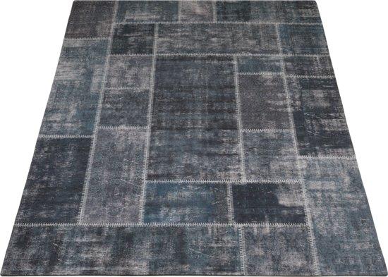 Vloerkleed Mijnen - 160 x 230 cm - Grijs/Blauw - Patchwork
