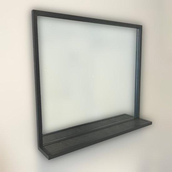 Badkamerspiegel Eternal met planchet, mat zwart 80x70x13cm