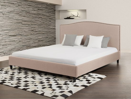 Tweepersoonsbed Beter Bed.Bol Com Bed Beige Tweepersoonsbed 180x200 Cm Gestoffeerd Bed