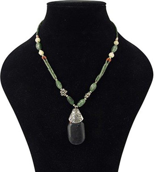 Bohemian ketting Jade met donkere hanger in staal - 46 cm - Edelsteen