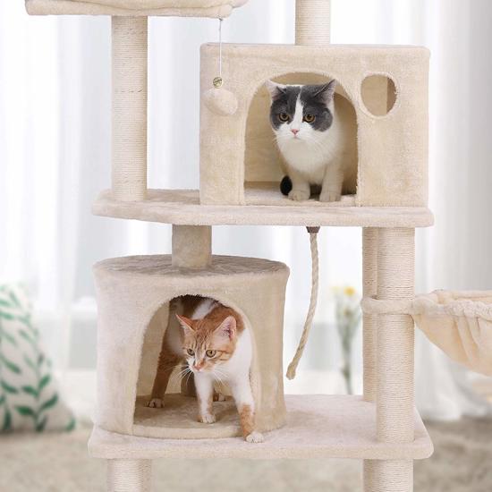 Luxe Krabpaal voor Maximaal 3 Katten - Meerdere Huisjes/ Mandjes - 60x50x140cm - Beige