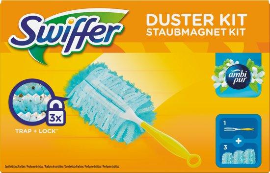 Swiffer Duster Trap & Lock Met Ambi Pur - 1 Vloerwisser Met 3 Navul Stofdoekjes - Starterkit