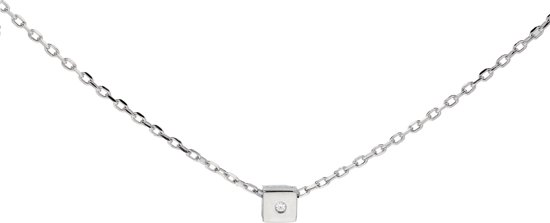 Lovenotes ketting - zilver - gerodineerd - vierkant - zirkonia - anker - 40 + 3 cm