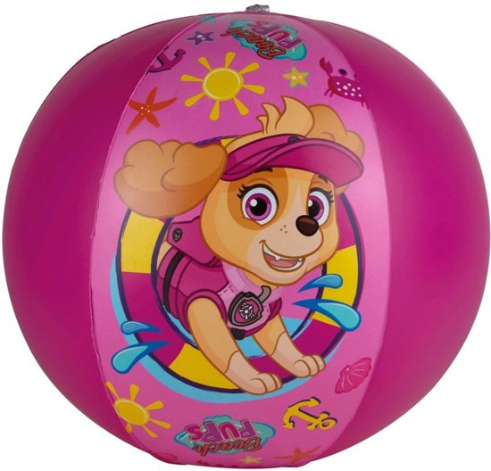 Paw Patrol opblaasbare speelgoed strandbal fuchsia roze 40 cm - Strandballen - Buiten speelgoed - Strand speelgoed