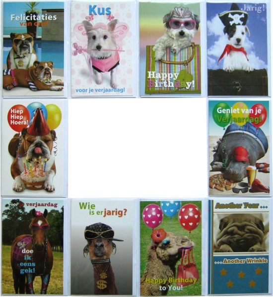 Verjaardagskaarten - Set van 10 - Dieren
