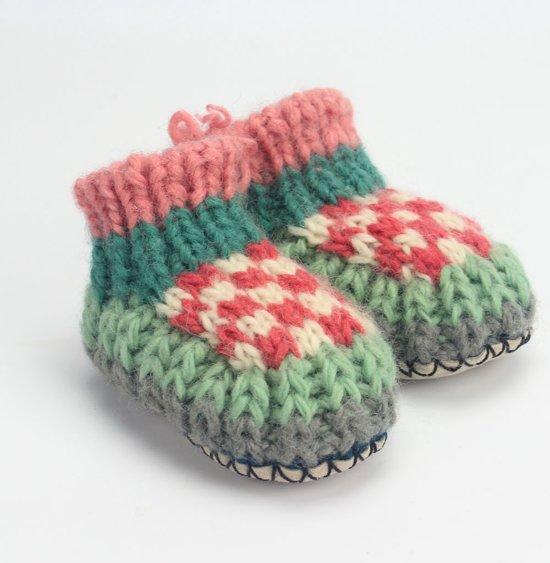 Babyslofjes Jansje Design - Gebreid - Rose/Wit/Mint