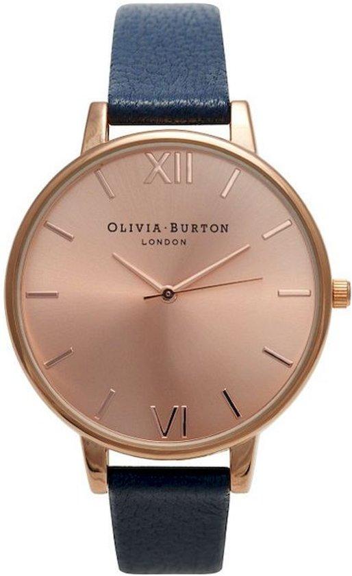 Olivia Burton Big Dial OB13BD13B - Horloge - Leer - Blauw - Ø38mm