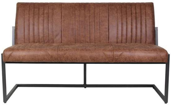 HSM Collection - Eetbank Texas - cognac - metaal/yachtleder