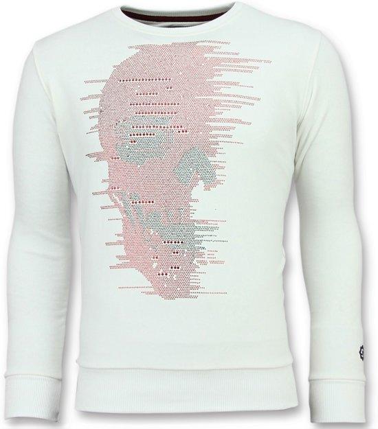 Local Fanatic Skull Glitter - Leuke Sweater Heren - 6343W - Wit - Maten: XL