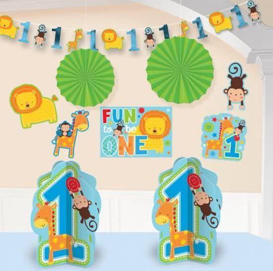 Bolcom Kamer Decoratie Set Eerste Verjaardag Jongen Safari Blauw