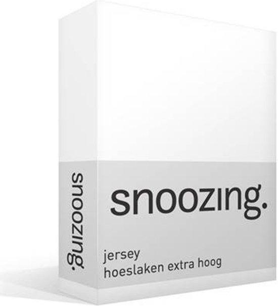Snoozing Jersey - Hoeslaken - Lits-jumeaux - 180x200 cm - Wit