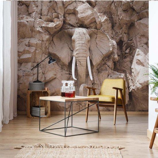 Fotobehang Stone Elephant | V4 - 254cm x 184cm | 130gr/m2 Vlies