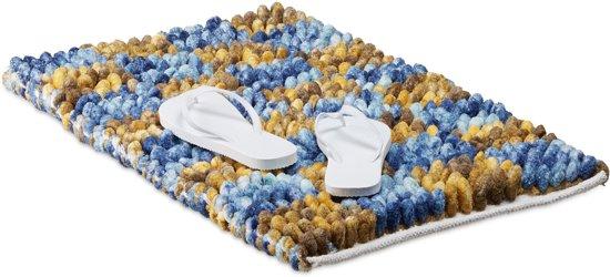 Antislip Mat Groot.Relaxdays Antislip Badmat Poppy Geruit Blauw Geel Badkamer Mat Antislipmat 50x80cm