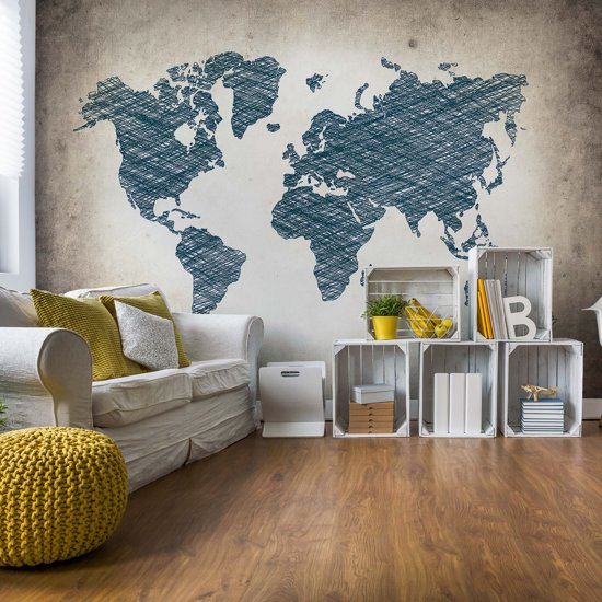 Fotobehang Modern World Map | VEL - 152.5cm x 104cm | 130gr/m2 Vlies