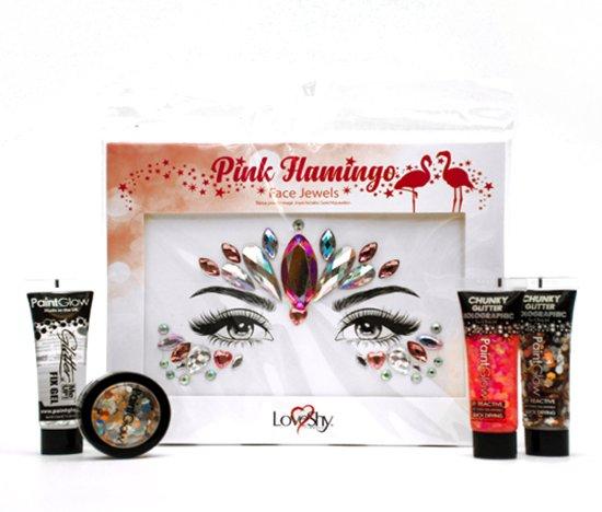 Festival Glitter Makeup Set – Face Jewel Glitters voor Gezicht - Pink Flamingo
