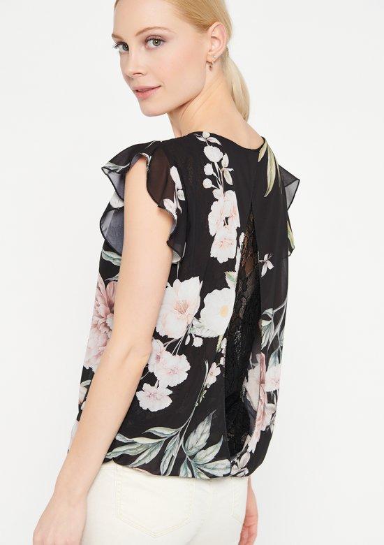 Shirt met bloemenprint - Zwart