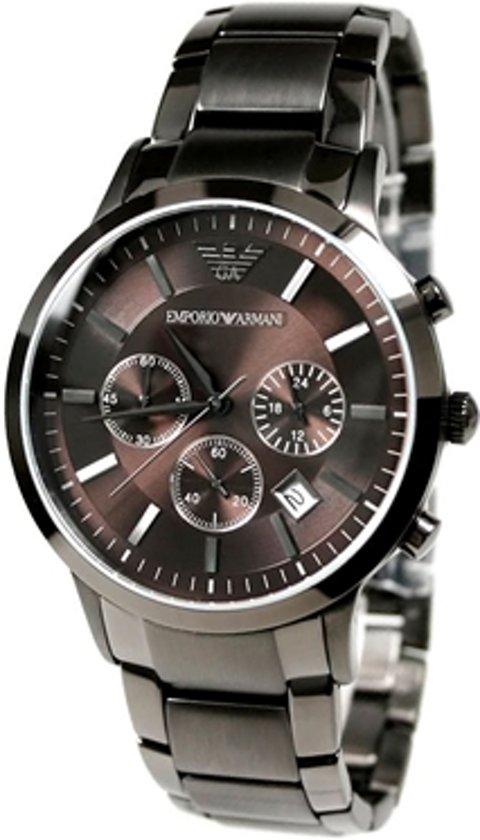 f592cb28cbb bol.com | Emporio Armani AR2454 - Horloge - Staal - Bruin - 43 mm