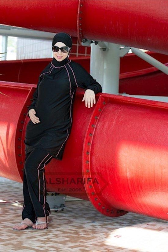 Burkini Islamitisch Zwempak Riviera Black Pink Burqini imanedesign.com