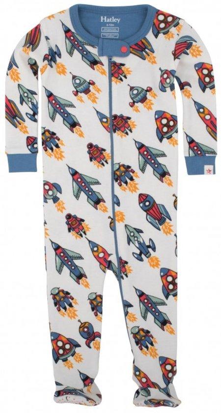 Hatley pyjama baby pyjama met voetjes raketten - 6-12 maand