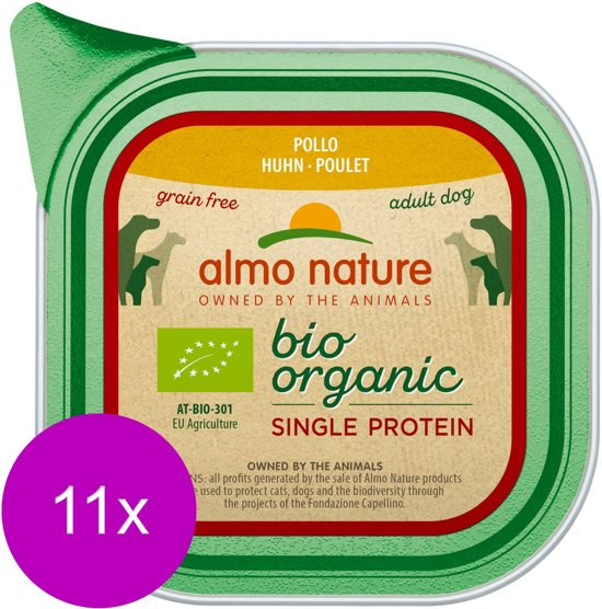 Almo Nature Alu Bio Organic Single Protein 150 g - Hondenvoer - 11 x Kip Graanvrij