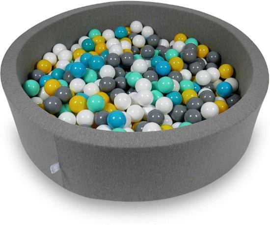 Ballenbak - 400 ballen - 115 x 30 cm - ballenbad - rond donker grijs