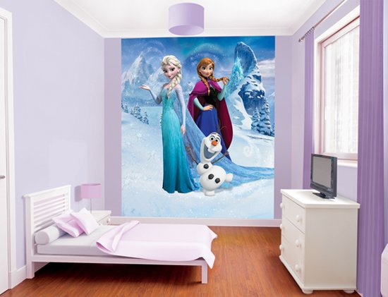 Frozen Slaapkamer Artikelen : Bol.com walltastic disney frozen behang 244x200 cm blauw