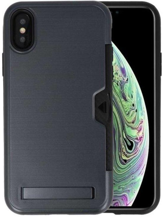 Zwart Tough Armor Kaarthouder Stand Hoesje voor iPhone X / XS