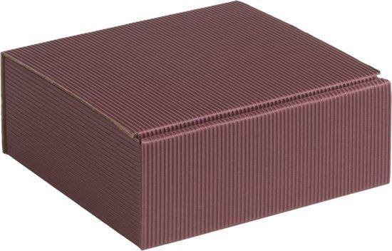 Geschenkdoos geribbeld karton 15x14x5,5cm BORDEAUX (100 stuks)