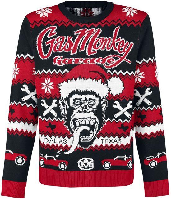 Gebreide Kersttrui.Bol Com Foute Gebreide Kersttrui Van De Gas Monkey Garage Monkey
