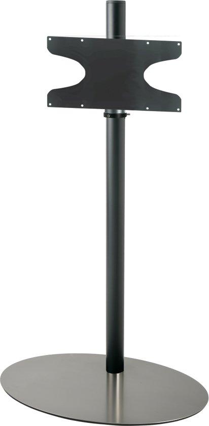 Cavus zwarte vloerstandaard met RVS voet voor TV's tot 65 inch - 120 cm hoog