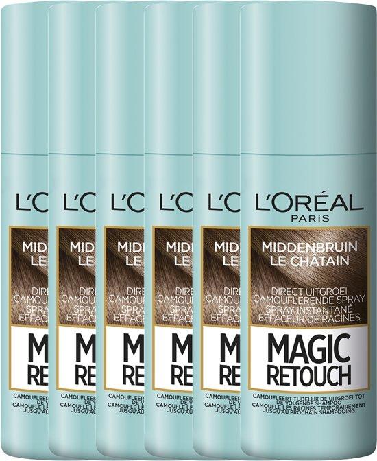 L'Oréal Paris Magic Retouch - Middenbruin - camouflerende uitgroei spray - 75ml x 6