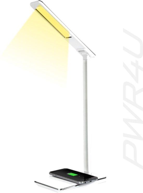 Bureaulamp - Led - wit - draadloos laden smartphone - dimbaar - keuze uit 4 lichtkleuren - wireless charger voor je smartphone