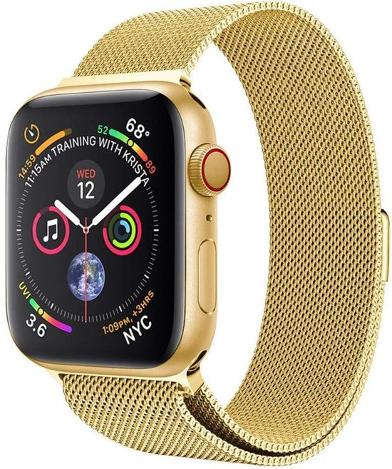 Milanese Loop Armband Voor Apple Watch Series 1/2/3/4 42/44 MM Iwatch Milanees Horloge Band - Goud Kleurig