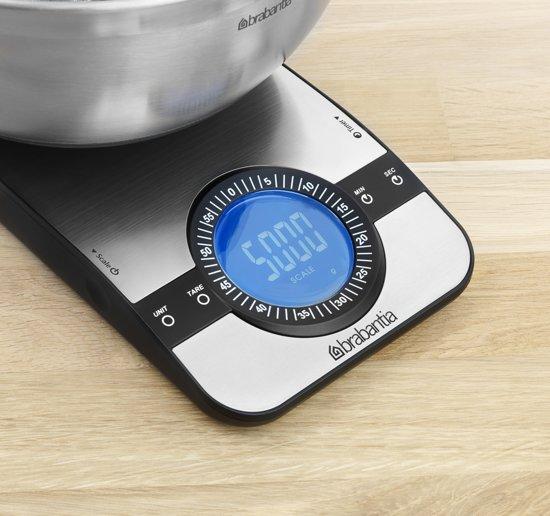 Brabantia Profile Keukenweegschaal Digitaal - met kookwekker - Matt Steel