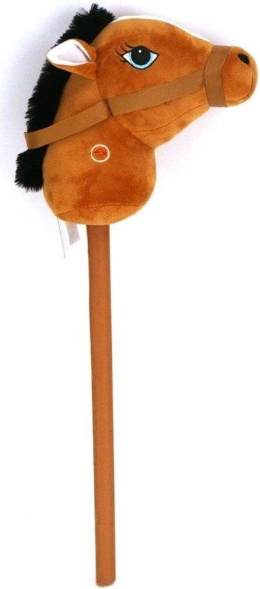 Pluche stokpaardje bruin met geluid 68 cm