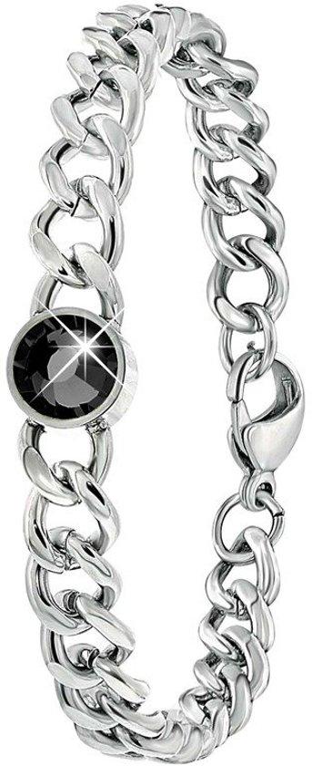Lucardi - Colours by Kate - Stalen armband met zwarte zirkonia