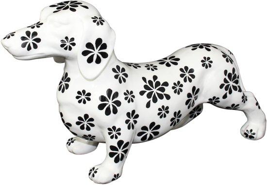 Teckel Big Ted XL decoratief object | hond - wit met zwarte bloemen | Pomme pidou