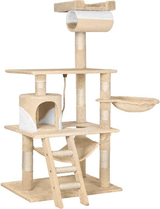 TecTake - Katten kitten krabpaal klimpaal - Stokely - 141cm - beige wit - 402280